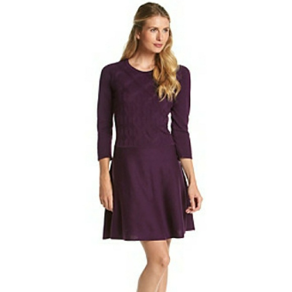 2d82038faa6 Nine West Boysenberry Cable Knit Sweater Dress NWT